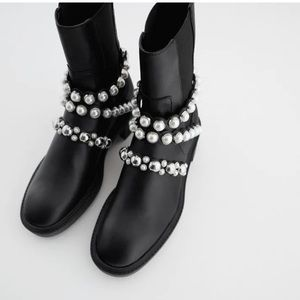 NWT Zara ankle PEARL boots SZ 8